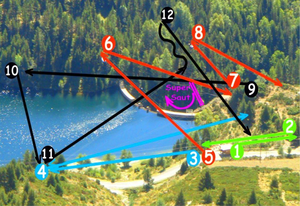 Plan du parcours de tyroliennes Tyrovol